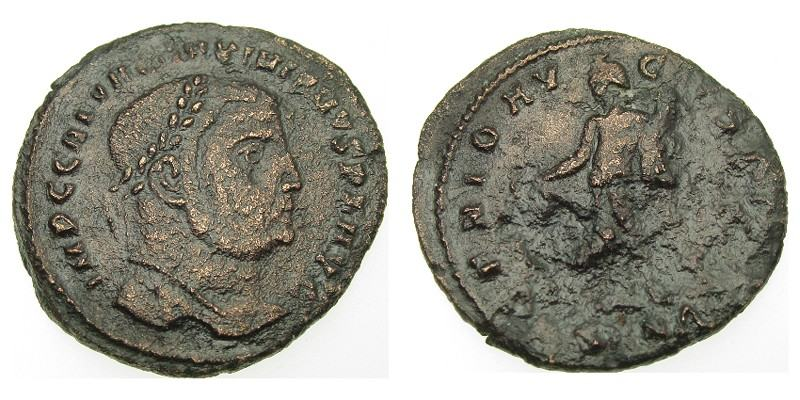 SOLD - GALERIUS/GENIUS, 305 AD - 306 AD, Copper Follis