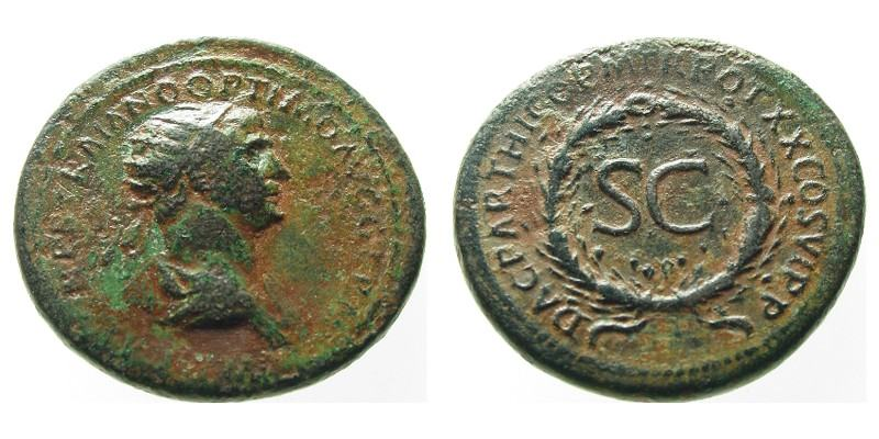 TRAJAN/WREATH, 115 AD - 116 AD, Copper As